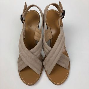 J Crew Marcie Blush Suede Heeled Sandals Size 9